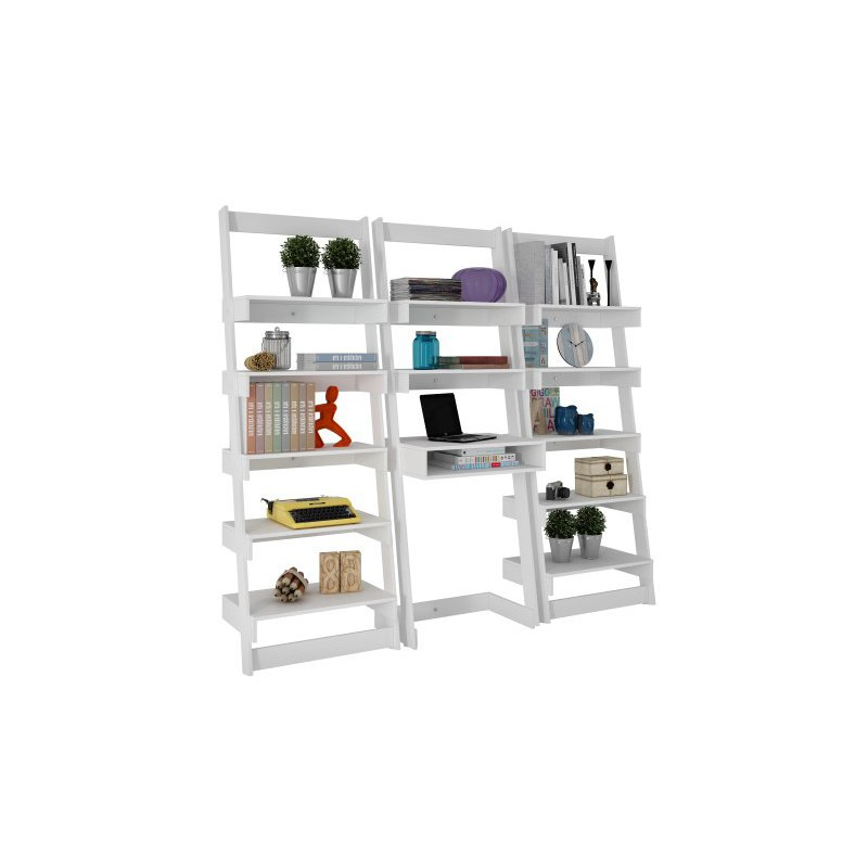 Accentuations by Manhattan Comfort 3 Piece Carpina Home Floating Ladder Shelf Office Desk in White