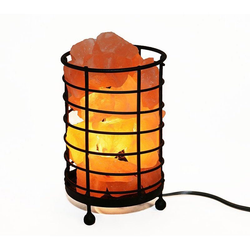 """Accentuations by Manhattan Comfort 4.5"""" Cylinder Himalayan Wired Basket Lamp 4.0 with Natural Rocks with dimmer (AMC95030D)"""
