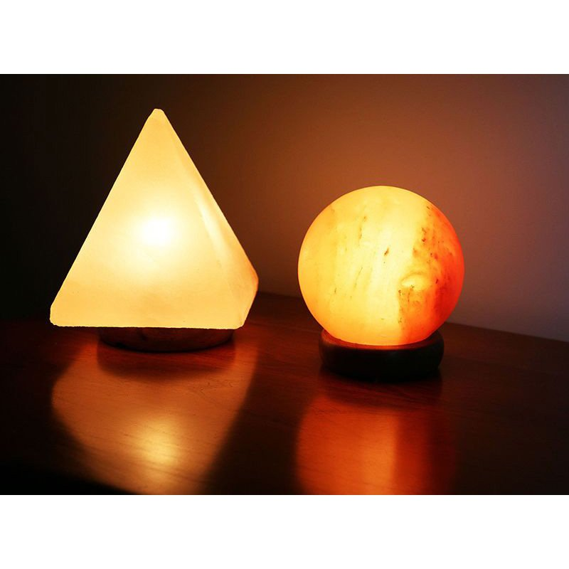 """Accentuations by Manhattan Comfort 5"""" Sphere Shaped Himalayan Salt Lamp 1.5 and 9"""" Pyramid Lamp with dimmer (AMC950034-5)"""