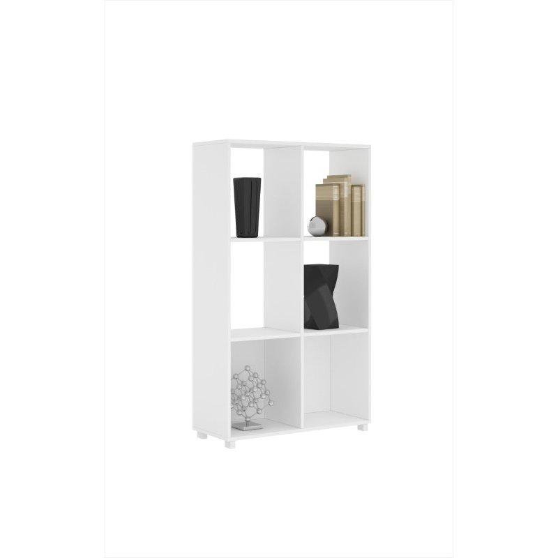 Accentuations By Manhattan Comfort 6 Shelf Natal 2.0 Bookcase in White