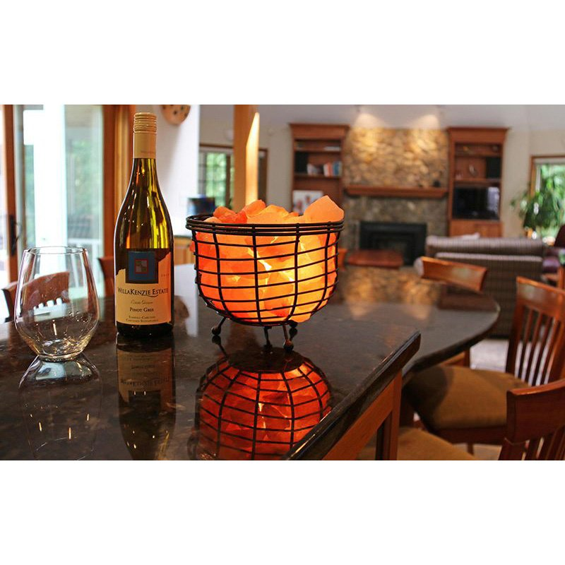 "Accentuations by Manhattan Comfort 9"" Himalayan Wired Basket Lamp 2.0 with Natural Rocks with dimmer (AMC95030B)"