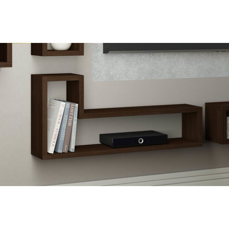 """Accentuations by Manhattan Comfort Barabs Tetris """"L"""" Shaped Floating Wall Mount in Tobacco"""