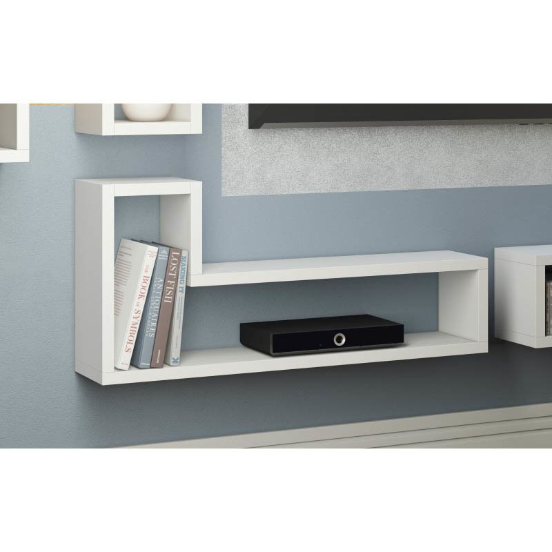 """Accentuations by Manhattan Comfort Barabs Tetris """"L"""" Shaped Floating Wall Mount in White"""