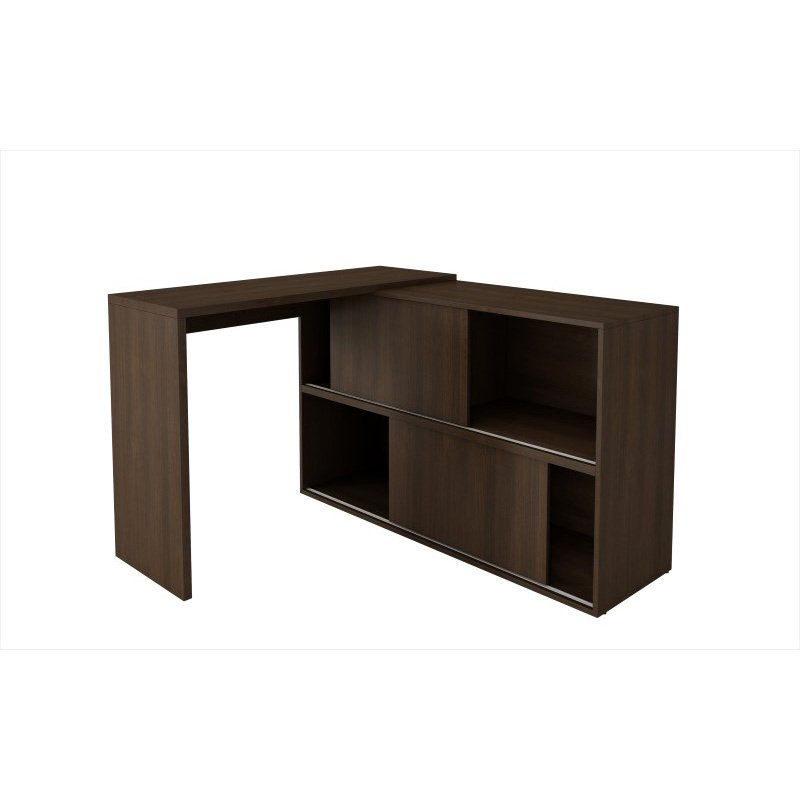 Accentuations by Manhattan Comfort Bari Bookcase Desk with 4 Shelves in Tobacco