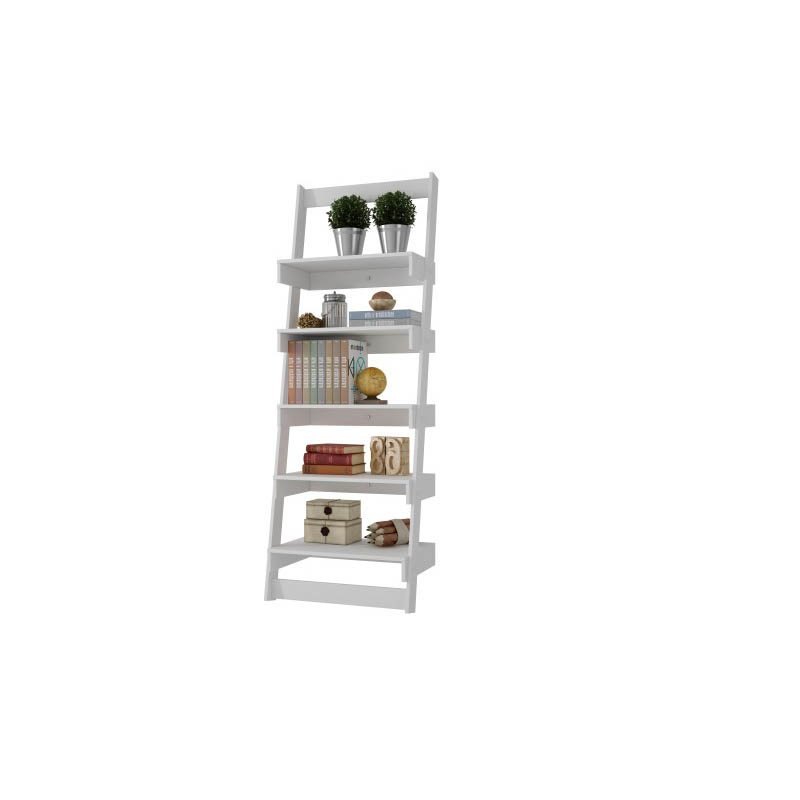 Accentuations by Manhattan Comfort Brilliant Carpina Ladder Shelf with 5-Floating-Shelves in White