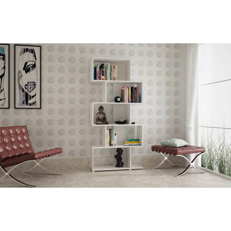 Accentuations by Manhattan Comfort Charming Petrolina Z-Shelf with 5-Shelves in White