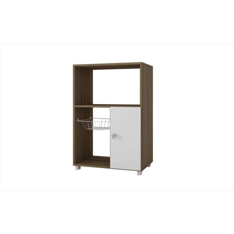 Accentuations by Manhattan Comfort Clever Bedok Kitchen Organizer with 3-Shelves and 1 rack in White