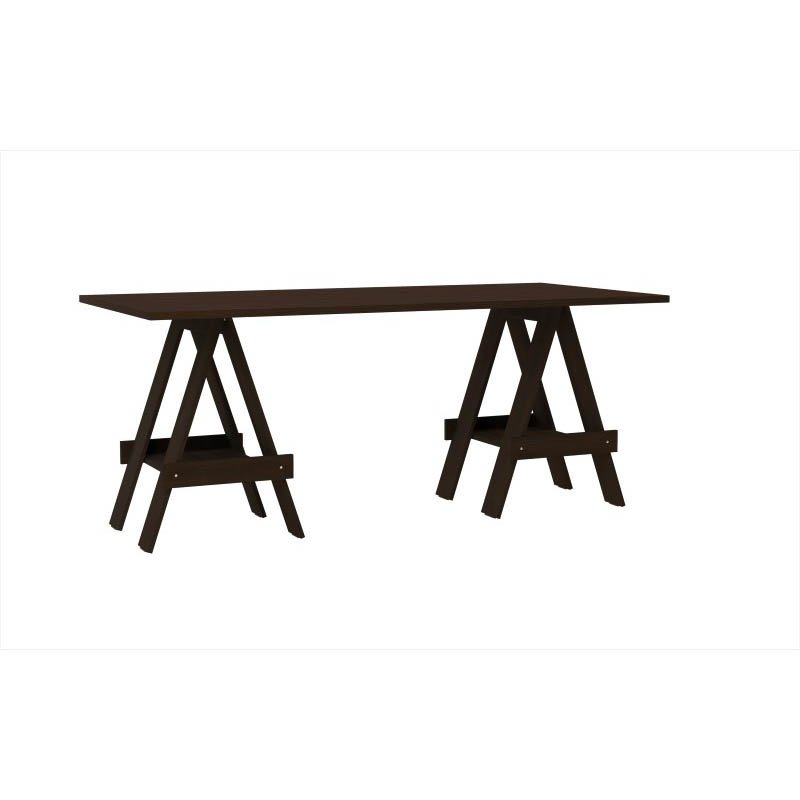 Accentuations by Manhattan Comfort Construction Messina Work Desk with 2-Shelves in Tobacco