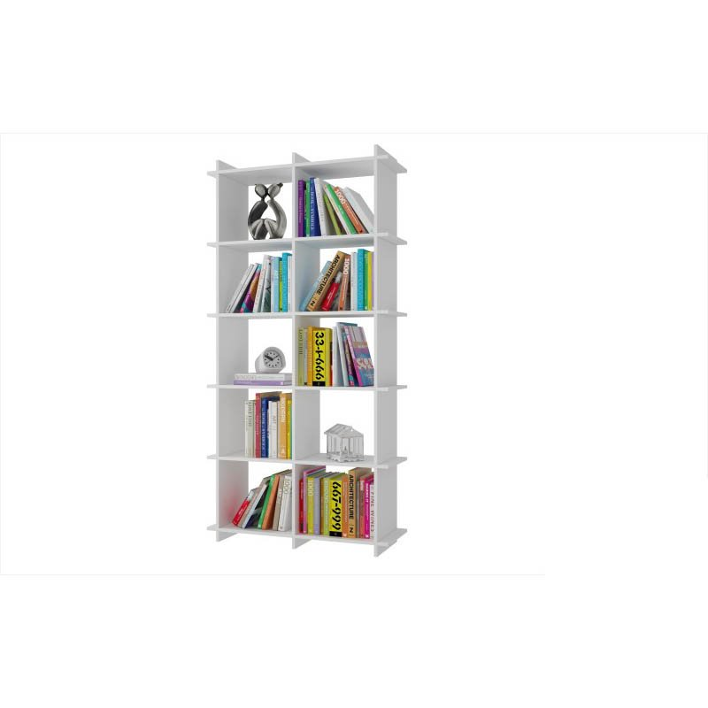 Accentuations by Manhattan Comfort Convenient Gisborne Bookcase 1.0 with 10-Shelves in White