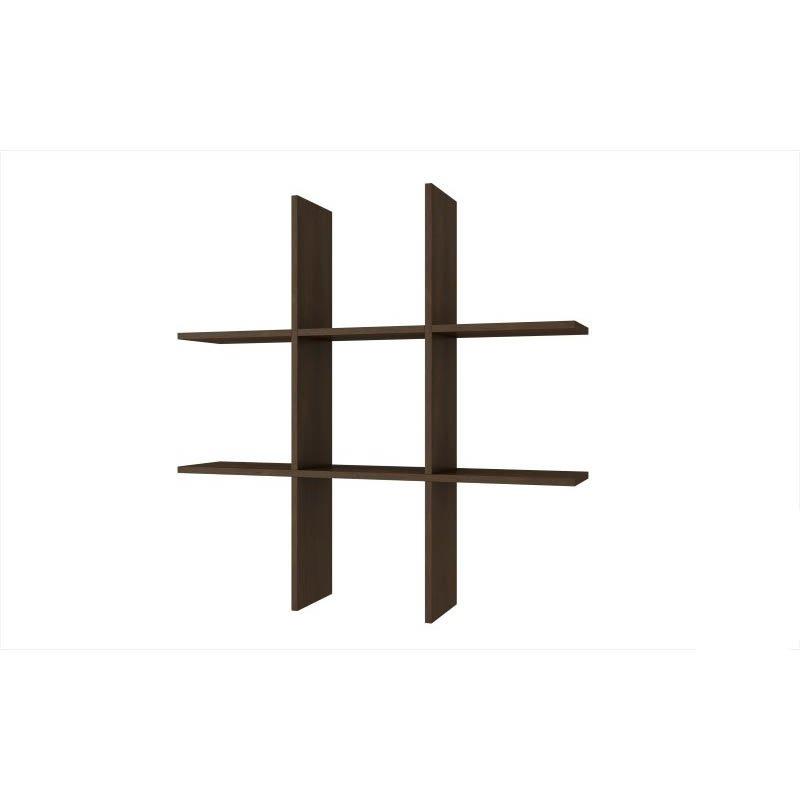 Accentuations by Manhattan Comfort Decorative Taranaki Tic-Tac Shelf with 6 Useful-Shelves in Tobacco