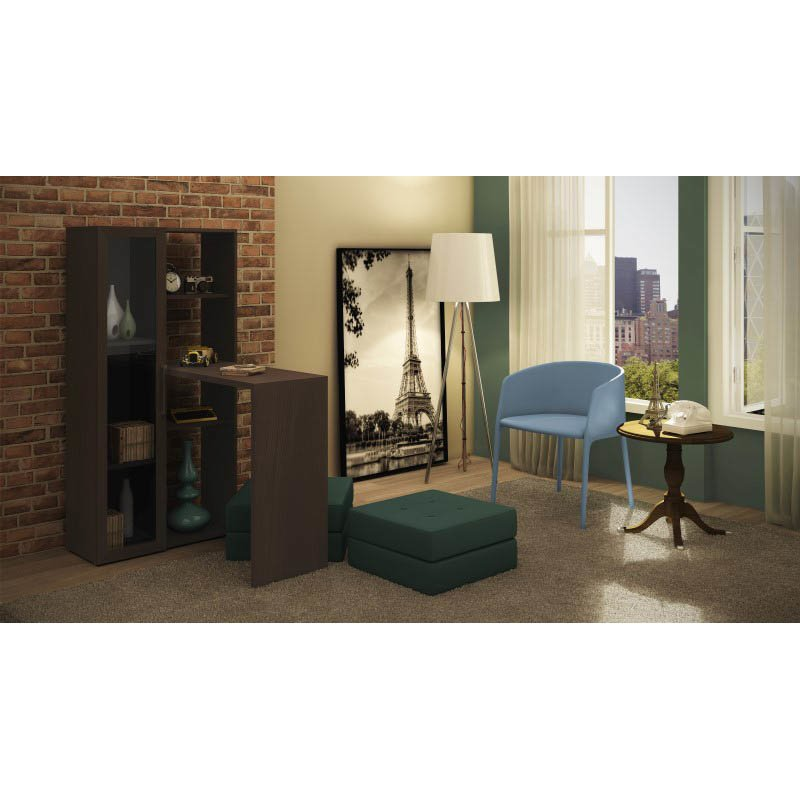 Accentuations by Manhattan Comfort Enchanthing Ast Smart Desk with 6-Shelves in Tobacco