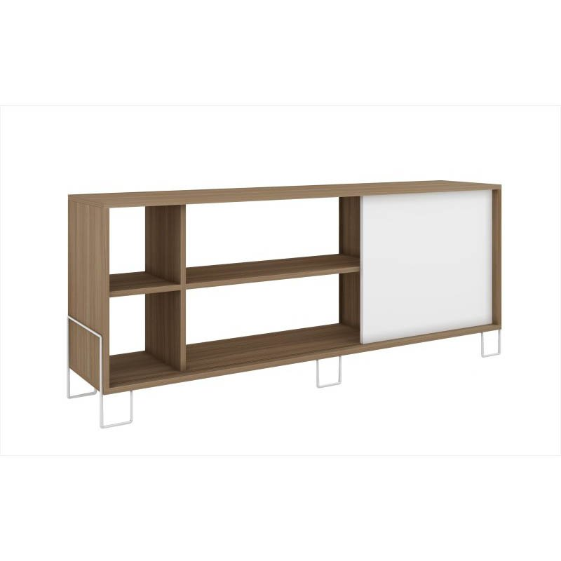 Accentuations by Manhattan Comfort Eye-catching Nacka TV Stand 2.0 with 4-Shelves and 1 Sliding Door in an Oak Frame with a White Door and Feet