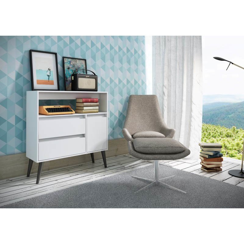 Accentuations by Manhattan Comfort Functional Gota High Side Table  with 1-Shelf 2-Drawers and  1-Door in White