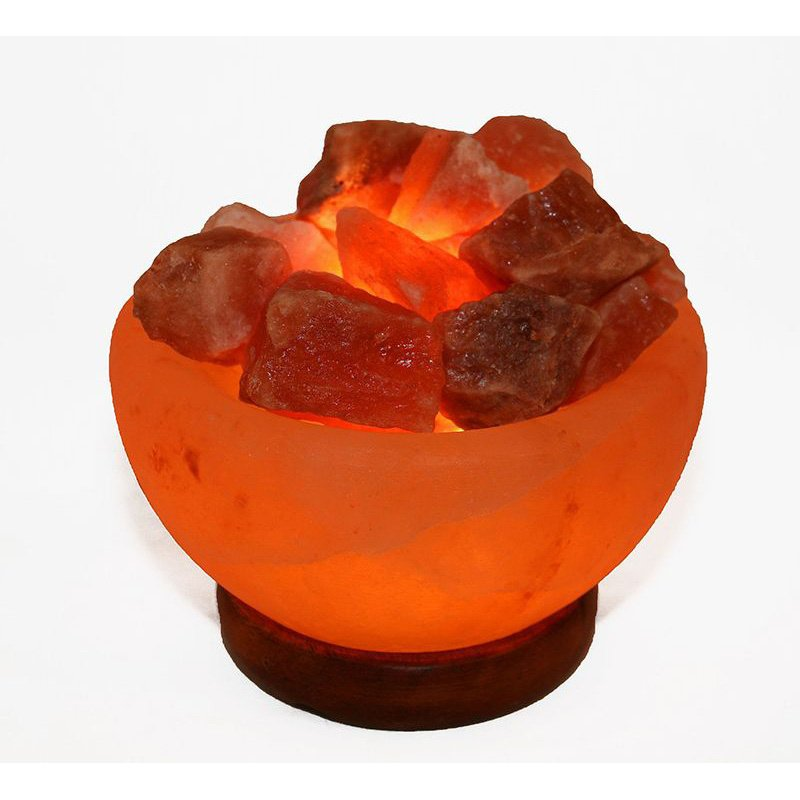 Accentuations by Manhattan Comfort Himalayan Salt Lamp Fire Bowl with Loose Natural Rocks with dimmer (AMC95009)