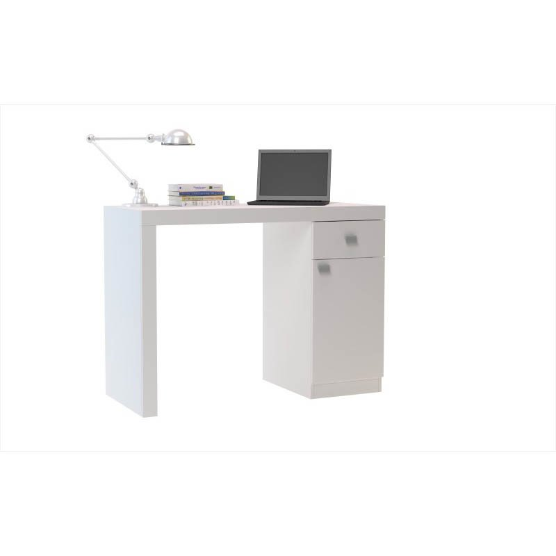 Accentuations by Manhattan Comfort Modena Classic Work Desk with 1-Drawer and 1-Door in White