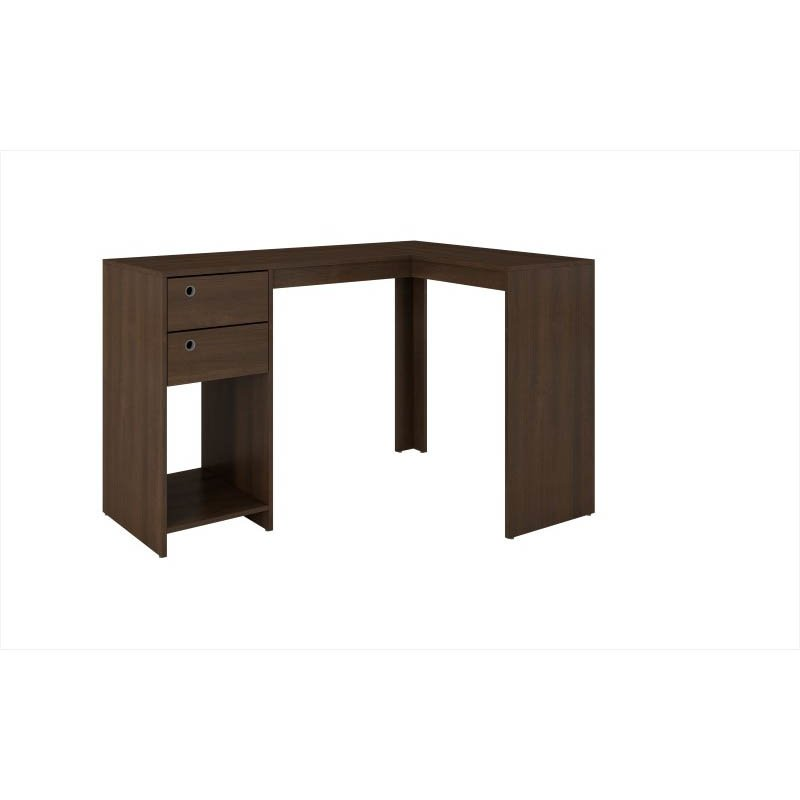 """Accentuations by Manhattan Comfort Modest Palermo Classic """"L"""" Shaped Desk with 2 Drawers and 1 Cubby in Tobacco"""