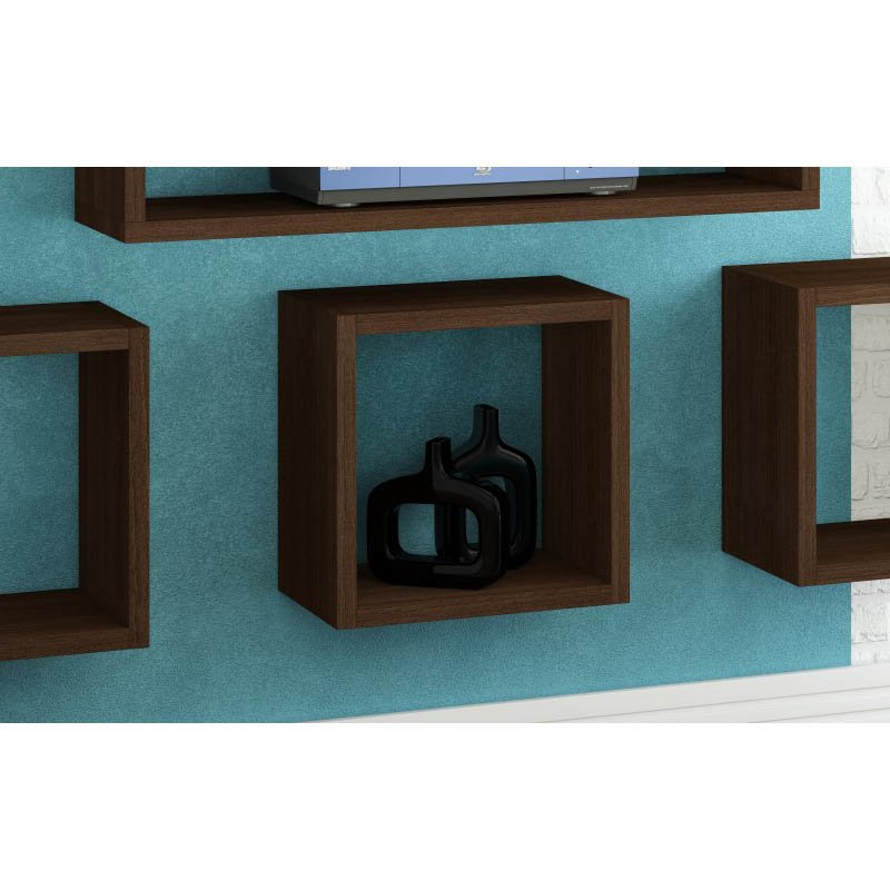 Accentuations by Manhattan Comfort Sahara Square Floating Decorative Shelf in Tobacco