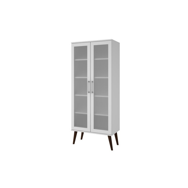 Accentuations by Manhattan Comfort Serra 2.0 - 5 Shelf Bookcase in White and Splayed Wooden Legs