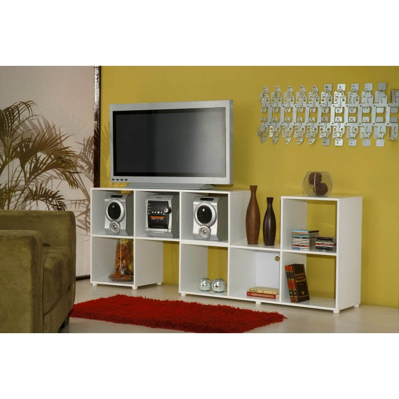 Accentuations by Manhattan Comfort Sleek Lagarto L-Cubbies with 4-Open-Shelves in White