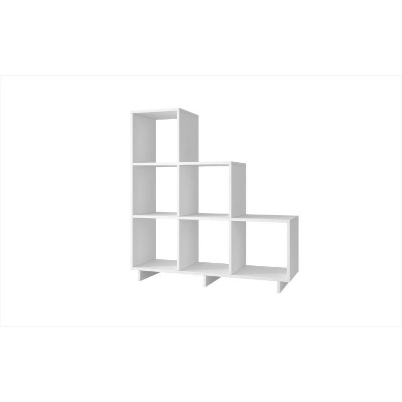 Accentuations by Manhattan Comfort Sophisticated Cascavel Stair Cubby with 6 Cube-Shelves in White