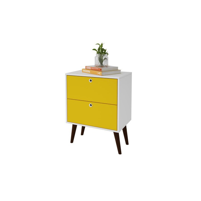 Accentuations by Manhattan Comfort Taby 2 Drawer Nightstand in Yellow and White