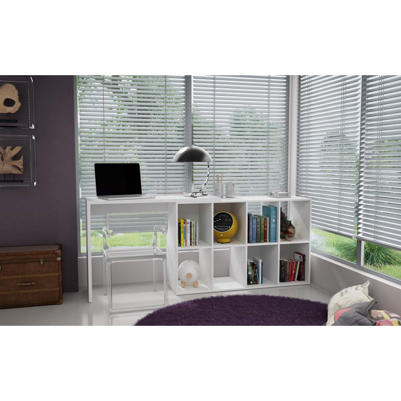 Accentuations by Manhattan Comfort Taranto Cubby Desk with 8 Shelves in White