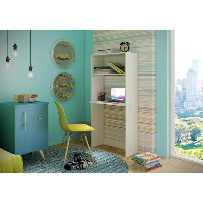 Accentuations by Manhattan Comfort Useful Parma Work Desk and Bookcase with 1 wide Shelf in White