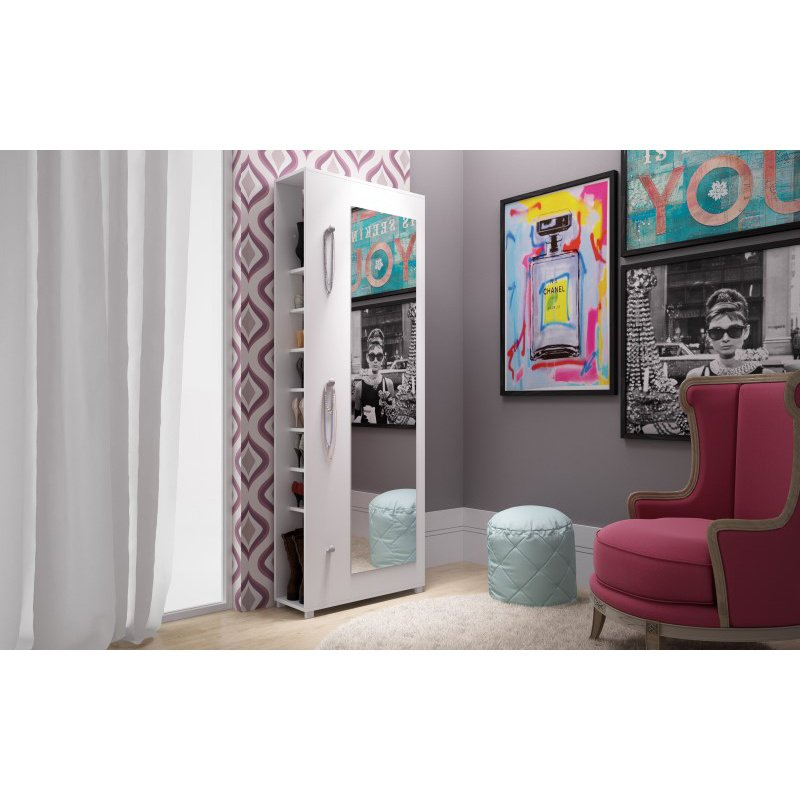 Accentuations by Manhattan Comfort Valencia 1.0 - 10 Shelf with 3 Hooks and Full Length Mirror Shoe Closet in White