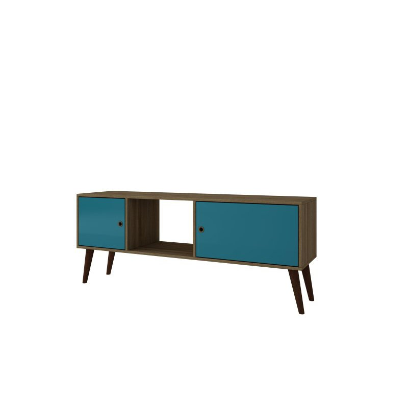 Accentuations by Manhattan Comfort Varberg Splayed Leg TV Stand in Oak and Aqua