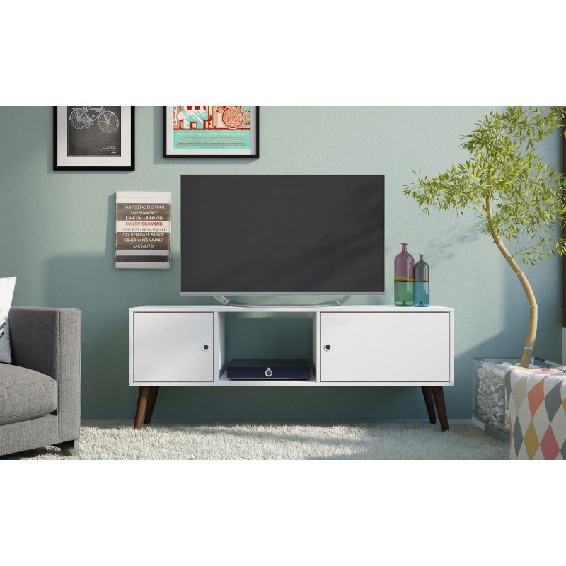 Accentuations by Manhattan Comfort Varberg Splayed Leg TV Stand in White