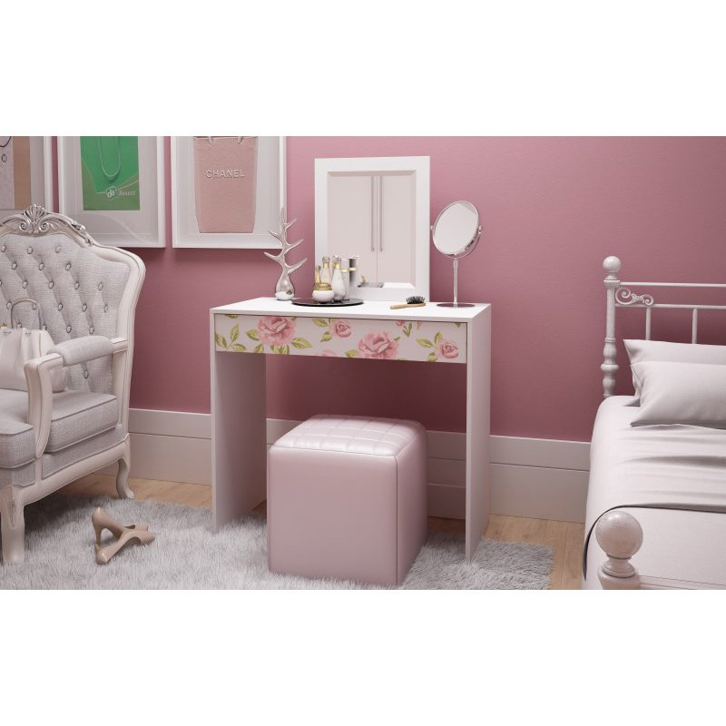 Accentuations by Manhattan Comfort Victoria 35.43in. Vanity with Mirror in White and Floral Stamp