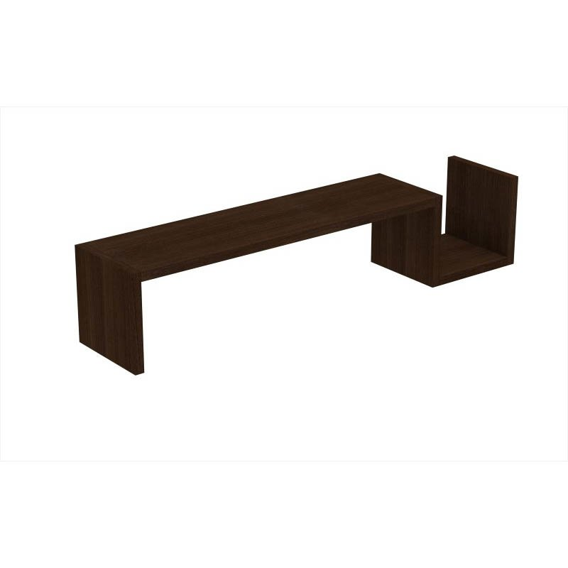 """Accentuations by Manhattan Comfort Zemmur """"S"""" Shaped Floating Wall Mount Shelf in Tobacco"""