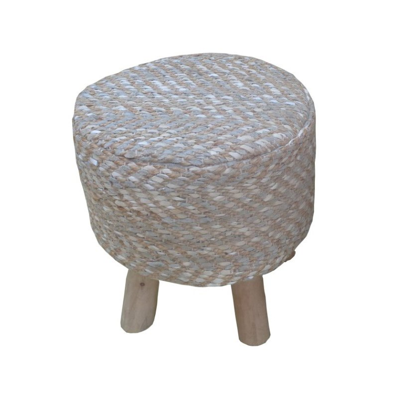 ACME Furniture Annah Stool in Leather and Jute (96428)