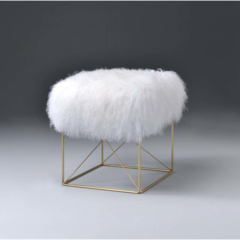 ACME Furniture Bagley Ottoman in Wool & Gold Brass (96700)