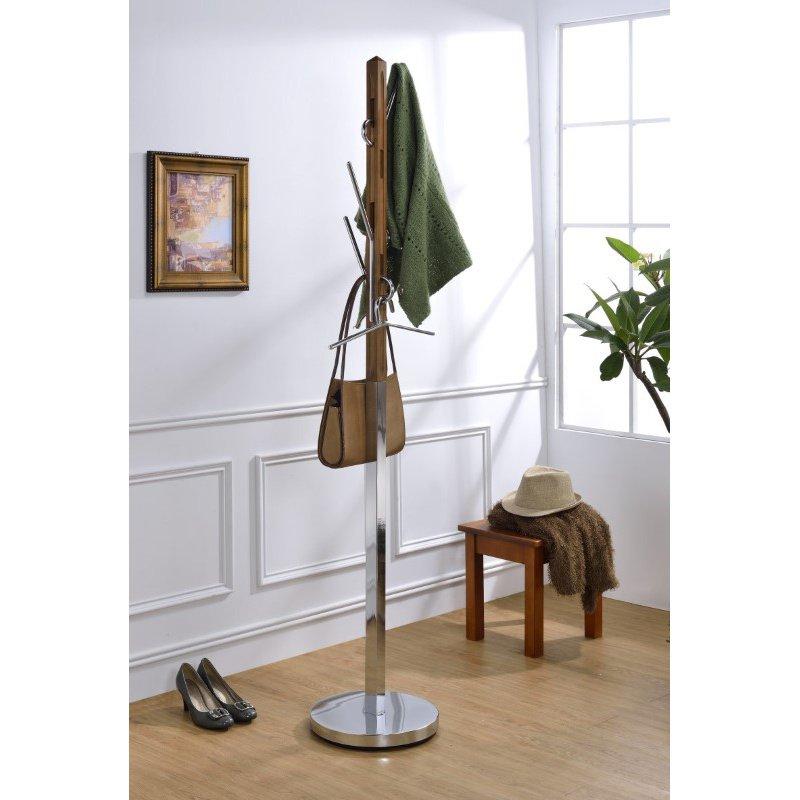 ACME Furniture Belen II Coat Rack in Walnut and Chrome (97510)