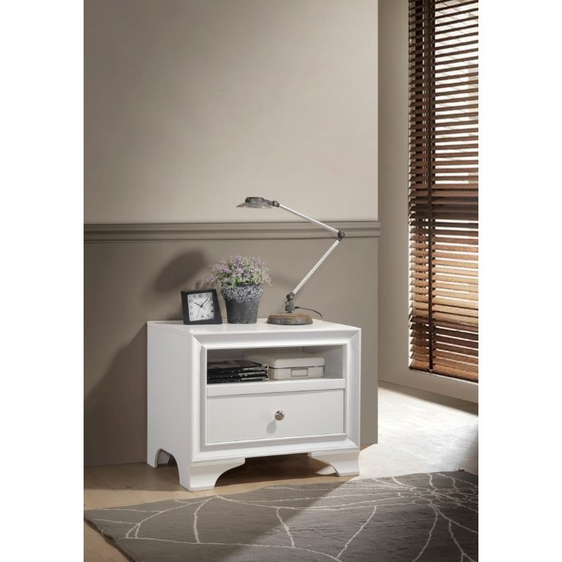 ACME Furniture Blaise 1-Drawer Nightstand in White (97496)