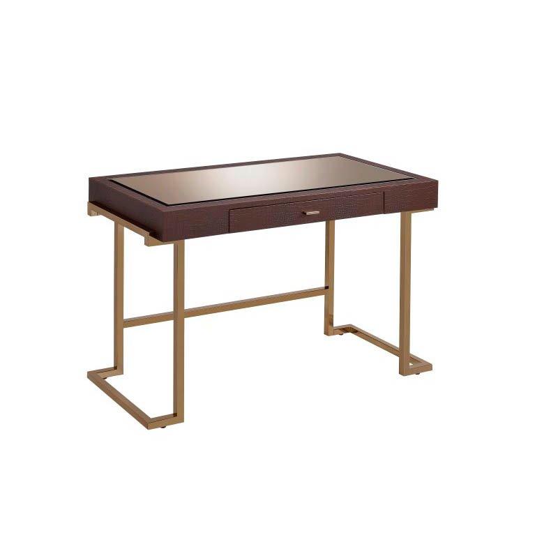 ACME Furniture Boice Desk in Espresso Faux Leather and Champagne (92336)