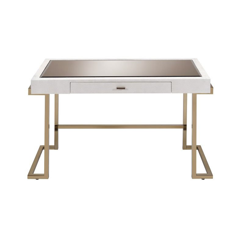 ACME Furniture Boice Desk in White Faux Leather and Champagne (92334)