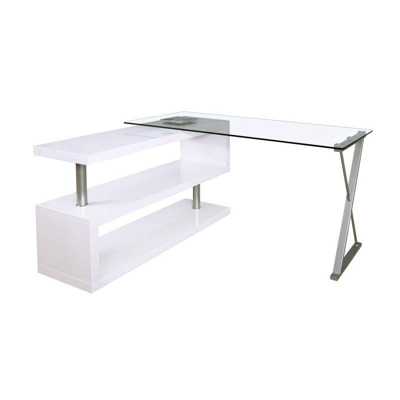ACME Furniture Buck Office Desk in Clear Glass and White (92368)