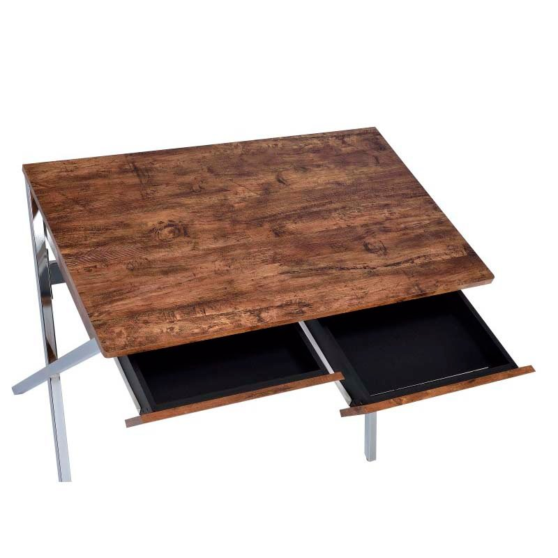 ACME Furniture Callers Desk in Weathered Oak and Chrome (92340)