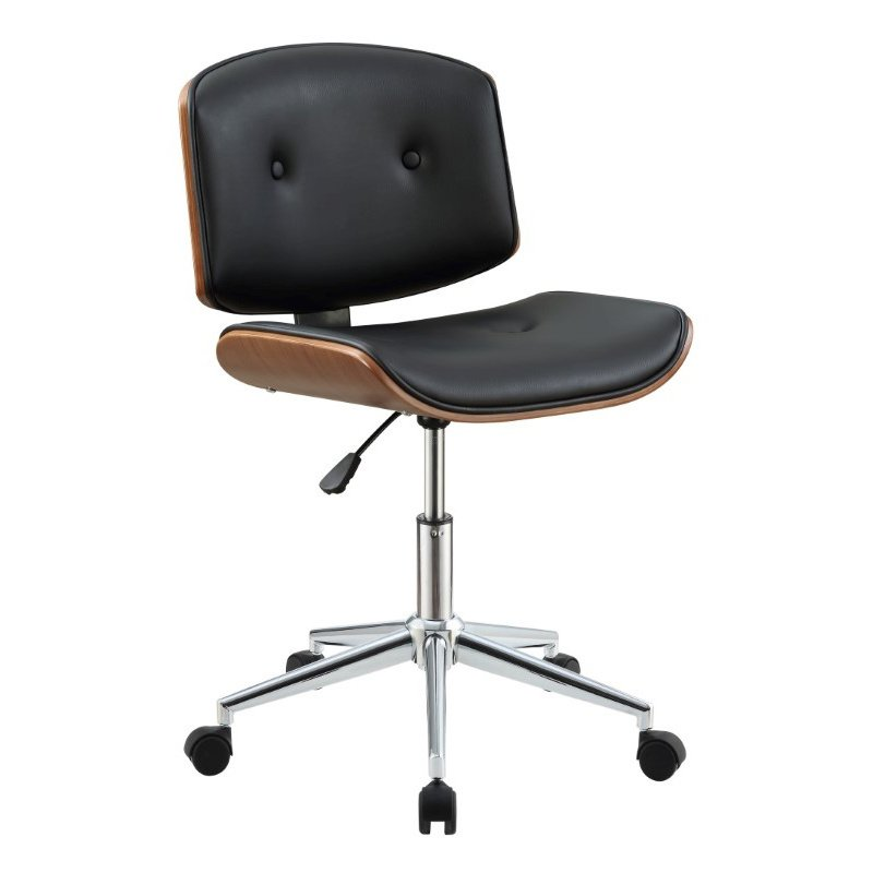 ACME Furniture Camila Office Chair in Black Faux Leather and Walnut (92418)