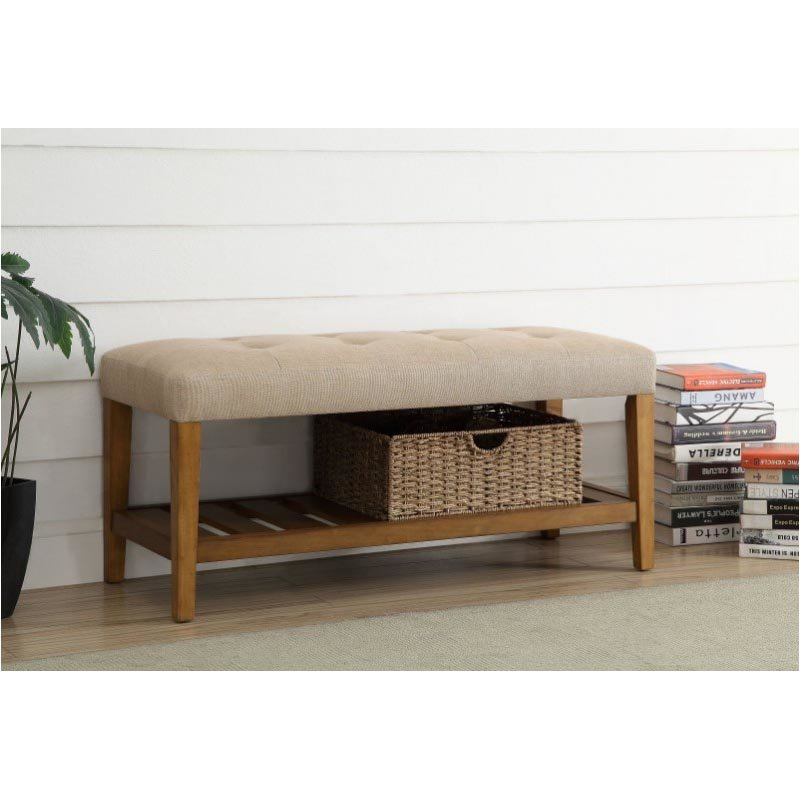 ACME Furniture Charla Bench in Beige & Oak (96682)