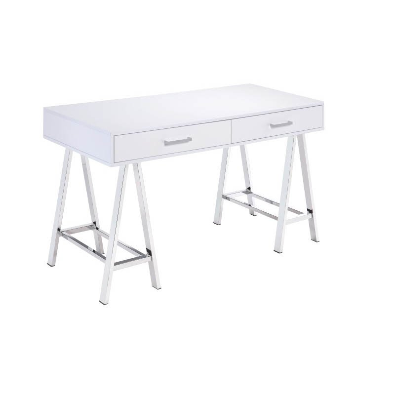 ACME Furniture Coleen Desk in White and Chrome (92229)