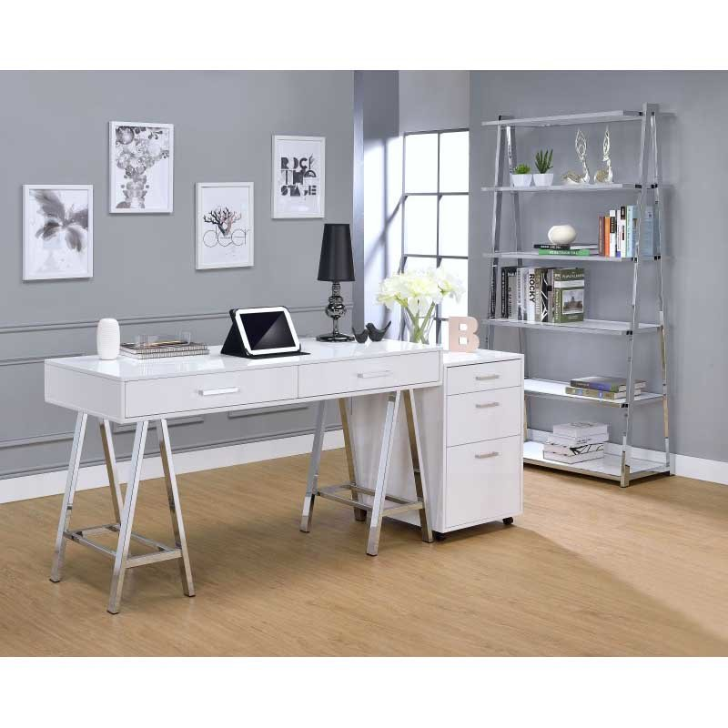 ACME Furniture Coleen File Cabinet in White High Gloss and Chrome (92454)