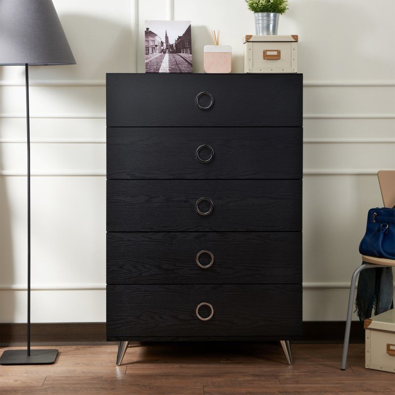 ACME Furniture Elms Chest in Black and Chrome (97374)