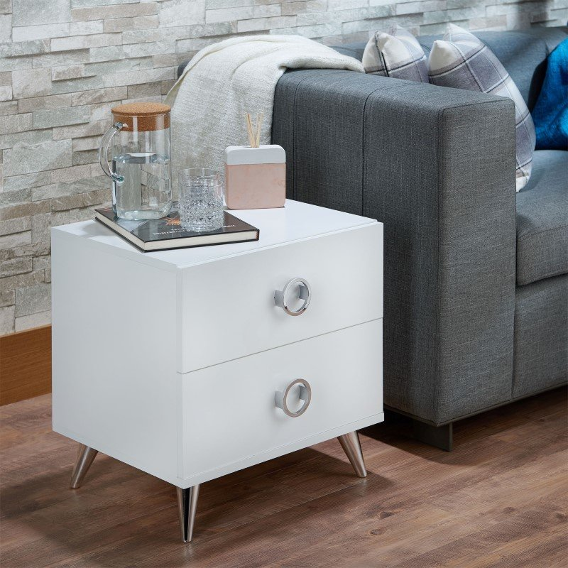 ACME Furniture Elms Nightstand in White (97334)