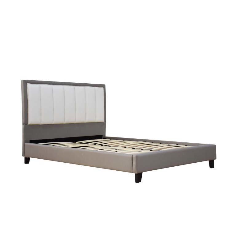 ACME Furniture Filart Queen Bed in Gray and Cream Faux Leather (26440Q)