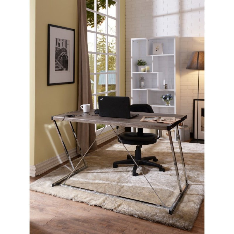 ACME Furniture Finis Writing Desk in Weathered Oak and Chrome (92344)