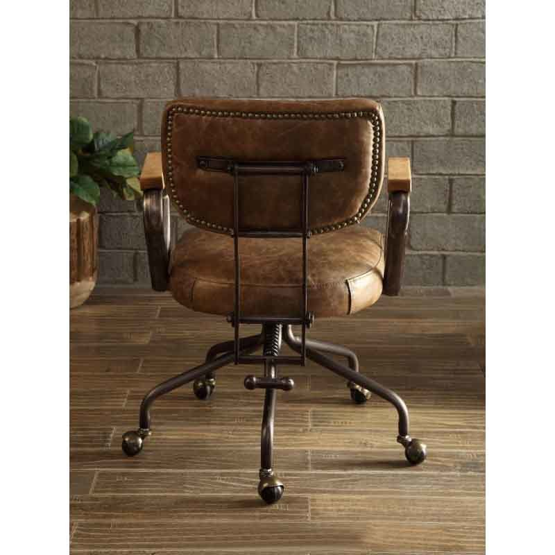 ACME Furniture Hallie Top Grain Leather Office Chair in Vintage Whiskey (92410)