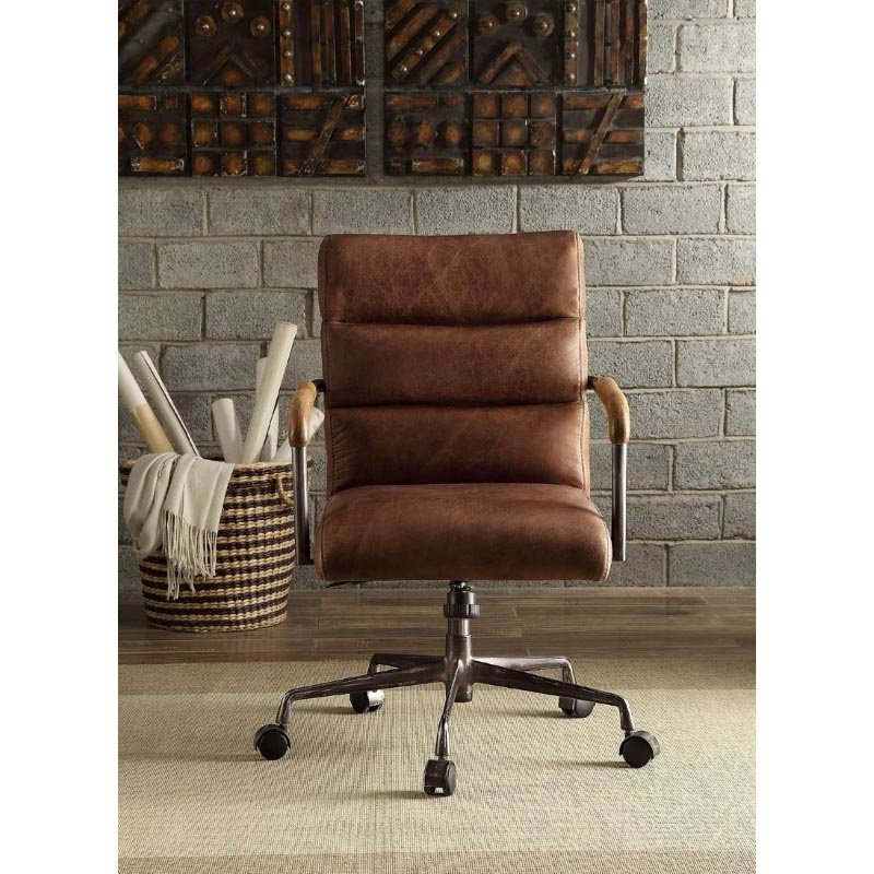 ACME Furniture Harith Top Grain Leather Office Chair in Retro Brown (92414)